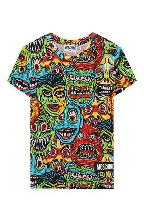 Детская хлопковая футболка MOSCHINO KID разноцветного цвета, арт. H0M02Q/LBB32/4A-8A | Фото 1
