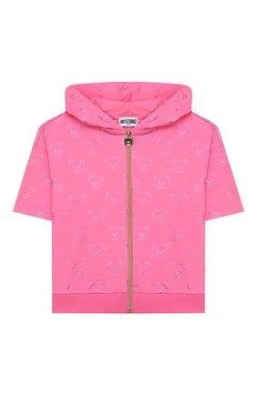Детский хлопковая толстовка MOSCHINO KID розового цвета, арт. HDF02F/LDB42/4A-8A | Фото 1