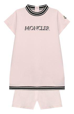 Женский комплект из футболки и шорт MONCLER розового цвета, арт. F1-951-8M711-10-809DQ | Фото 1