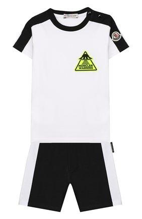 Детский комплект из футболки и шорт MONCLER черно-белого цвета, арт. F1-951-8M716-20-8790A | Фото 1