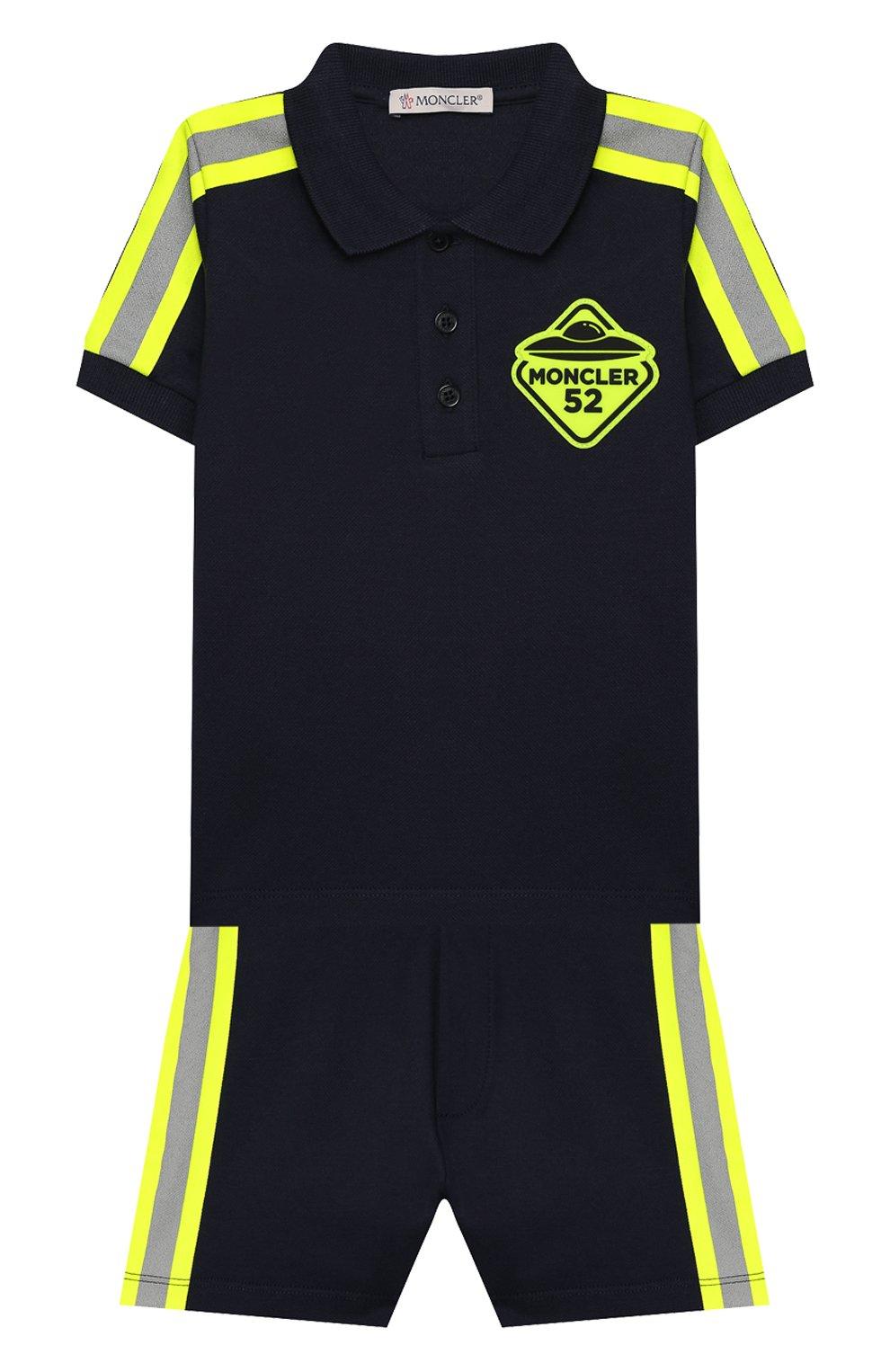Детский комплект из поло и шорт MONCLER синего цвета, арт. F1-951-8M717-20-8496F | Фото 1