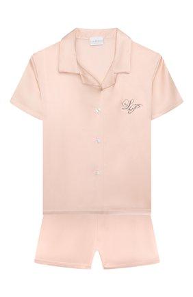 Детская шелковая пижама LA PERLA розового цвета, арт. 71191/2A-6A | Фото 1