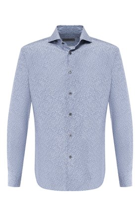 Мужская шелковая рубашка CORNELIANI синего цвета, арт. 85P102-0111945/00 | Фото 1