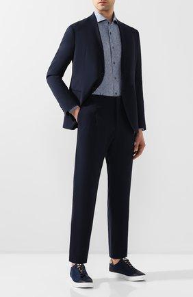 Мужская шелковая рубашка CORNELIANI синего цвета, арт. 85P102-0111945/00 | Фото 2