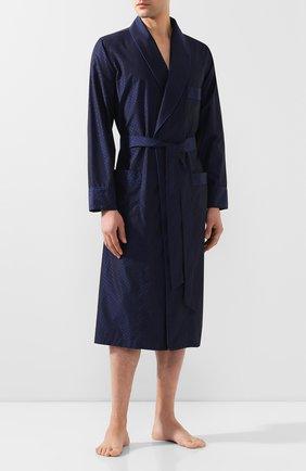 Мужской хлопковый халат ROBERTO RICETTI темно-синего цвета, арт. VESTAGLIA R0BE/KING JACQUARD2538-604D | Фото 2