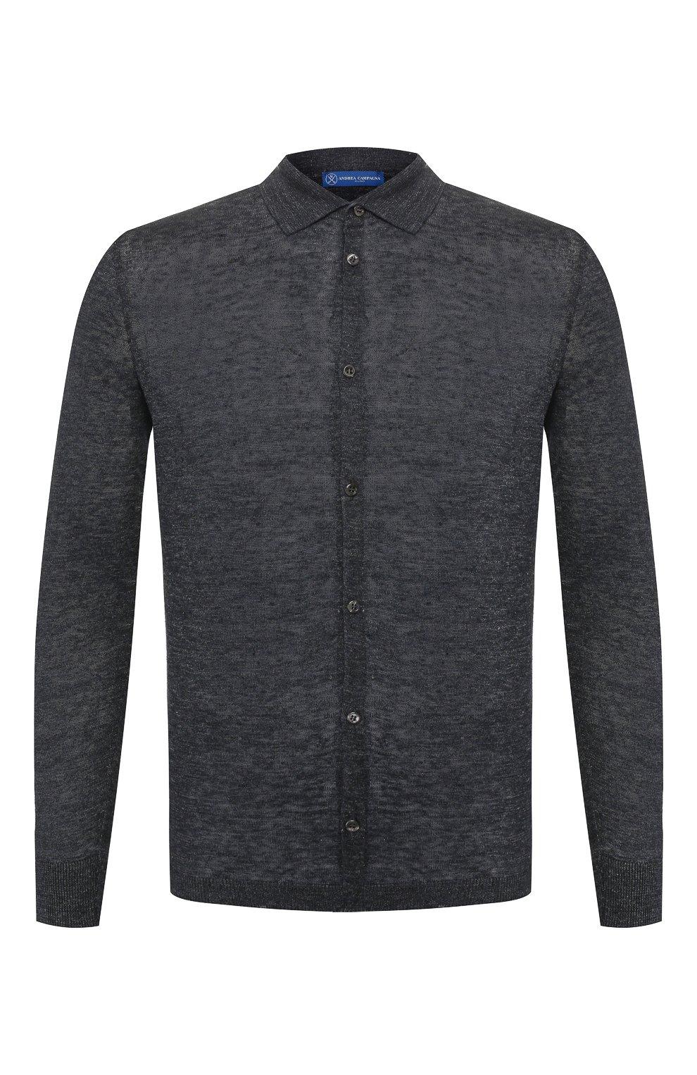 Мужская льняная рубашка ANDREA CAMPAGNA темно-серого цвета, арт. 57103/24806   Фото 1