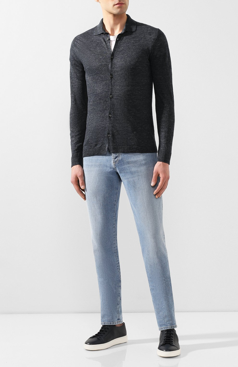 Мужская льняная рубашка ANDREA CAMPAGNA темно-серого цвета, арт. 57103/24806   Фото 2