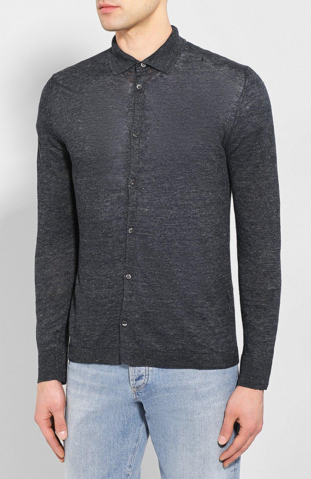 Мужская льняная рубашка ANDREA CAMPAGNA темно-серого цвета, арт. 57103/24806   Фото 3