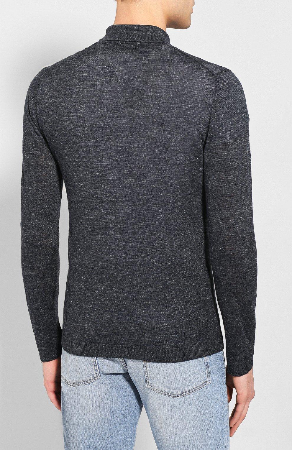 Мужская льняная рубашка ANDREA CAMPAGNA темно-серого цвета, арт. 57103/24806   Фото 4