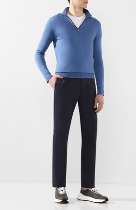 Мужской брюки из смеси хлопка и шелка LORO PIANA темно-синего цвета, арт. FAL1505 | Фото 2