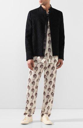 Мужской брюки из вискозы TRIPLE RRR белого цвета, арт. SS20 P009 0032 | Фото 2