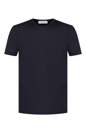 Мужская шелковая футболка CORTIGIANI темно-синего цвета, арт. 816650/0000 | Фото 1