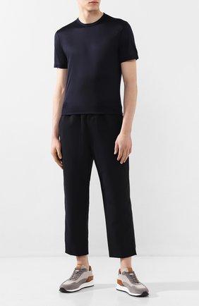 Мужская шелковая футболка CORTIGIANI темно-синего цвета, арт. 816650/0000 | Фото 2