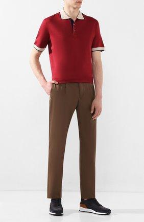 Мужское поло из смеси хлопка и шелка CORTIGIANI бордового цвета, арт. 816648/4600 | Фото 2