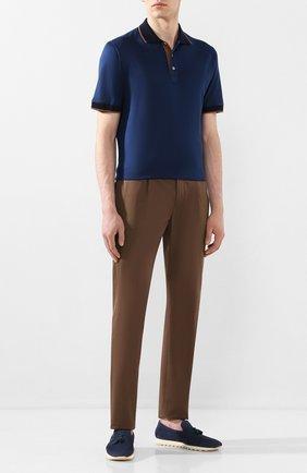 Мужское поло из смеси хлопка и шелка CORTIGIANI синего цвета, арт. 816648/4600 | Фото 2