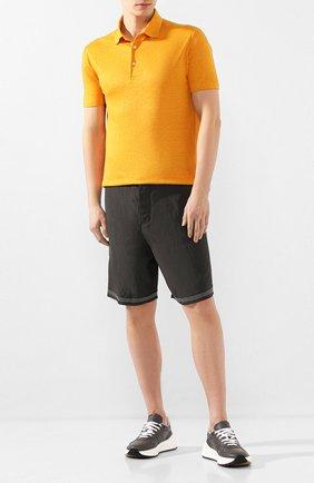 Мужские шорты из смеси вискозы и льна GIORGIO ARMANI хаки цвета, арт. 0SGPB00B/T00RJ | Фото 2