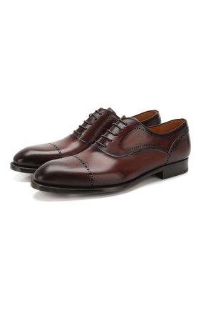 Мужские кожаные оксфорды MAGNANNI темно-коричневого цвета, арт. 22732/WIND | Фото 1