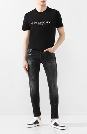Мужские кожаные кеды AMIRI черно-белого цвета, арт. Y0F22421LS   Фото 2
