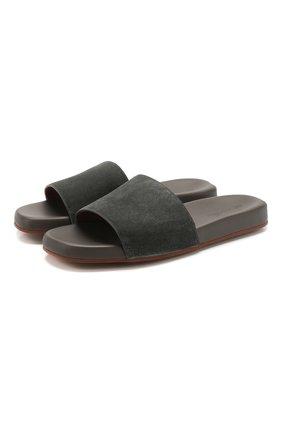 Мужские замшевые шлепанцы seaside walk LORO PIANA серого цвета, арт. FAI4870 | Фото 1