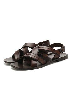 Мужские кожаные сандалии STEMAR темно-коричневого цвета, арт. 9397001/A | Фото 1