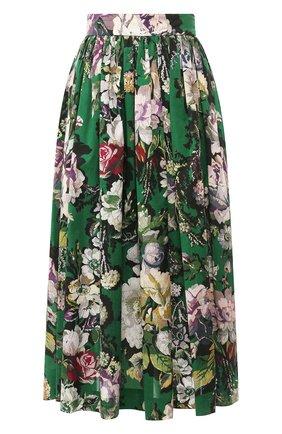 Женская хлопковая юбка DRIES VAN NOTEN зеленого цвета, арт. 201-10889-9400   Фото 1