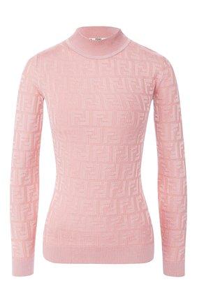 Женская пуловер из смеси хлопка и вискозы FENDI светло-розового цвета, арт. FZY935 AAVG | Фото 1