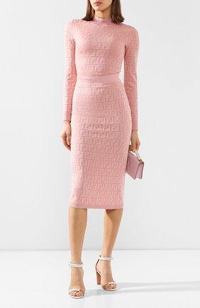 Женская пуловер из смеси хлопка и вискозы FENDI светло-розового цвета, арт. FZY935 AAVG | Фото 2