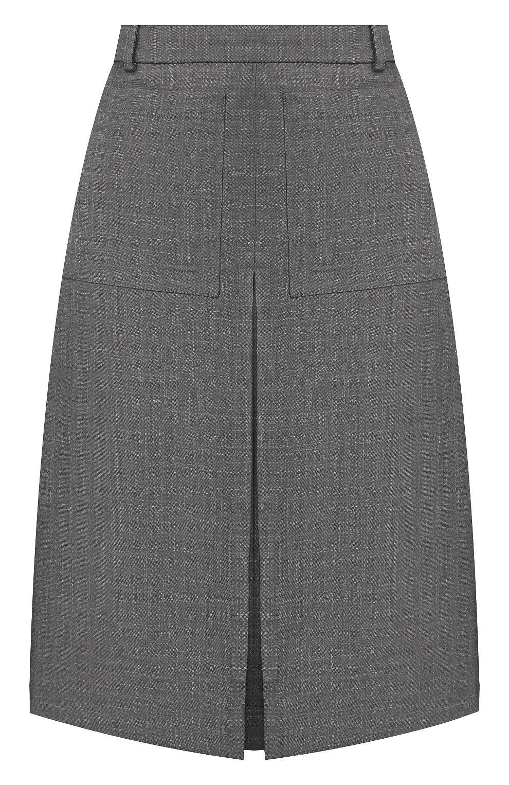 Женская юбка из смеси шерсти и шелка BURBERRY серого цвета, арт. 4564103   Фото 1