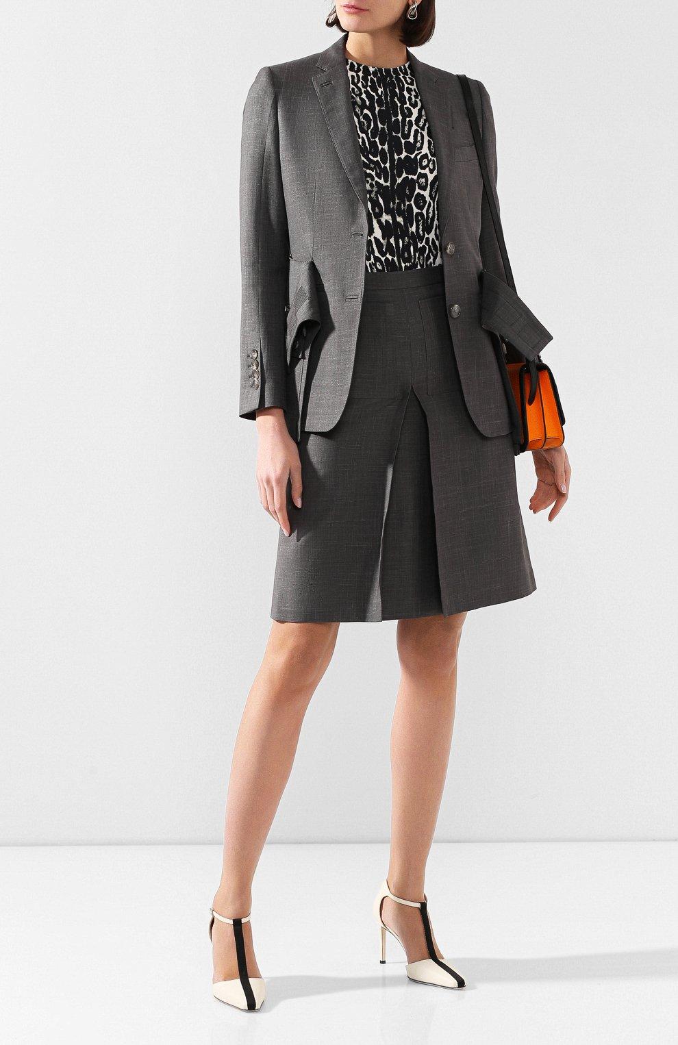 Женская юбка из смеси шерсти и шелка BURBERRY серого цвета, арт. 4564103   Фото 2