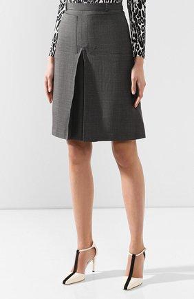 Женская юбка из смеси шерсти и шелка BURBERRY серого цвета, арт. 4564103   Фото 3