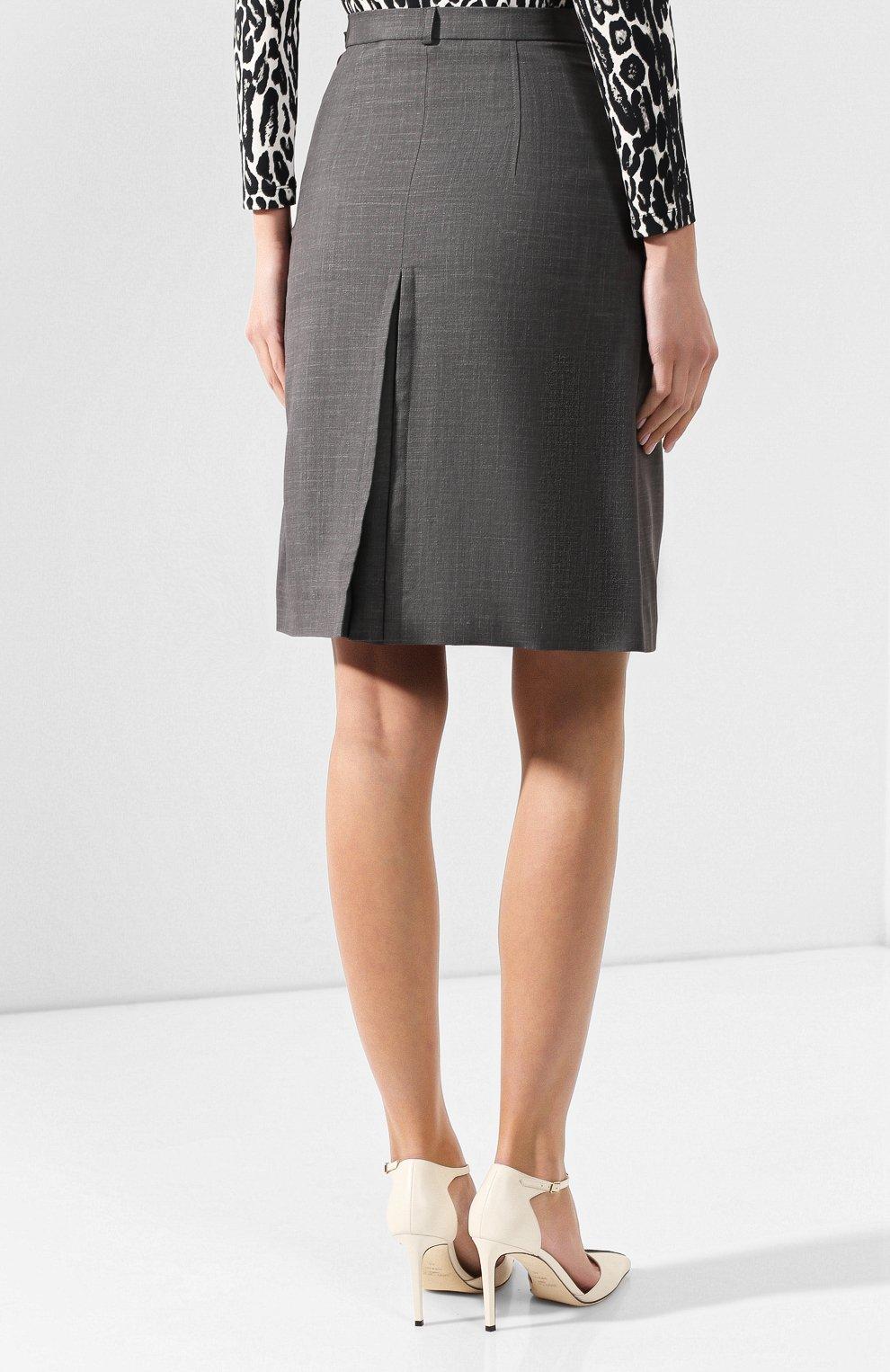 Женская юбка из смеси шерсти и шелка BURBERRY серого цвета, арт. 4564103   Фото 4