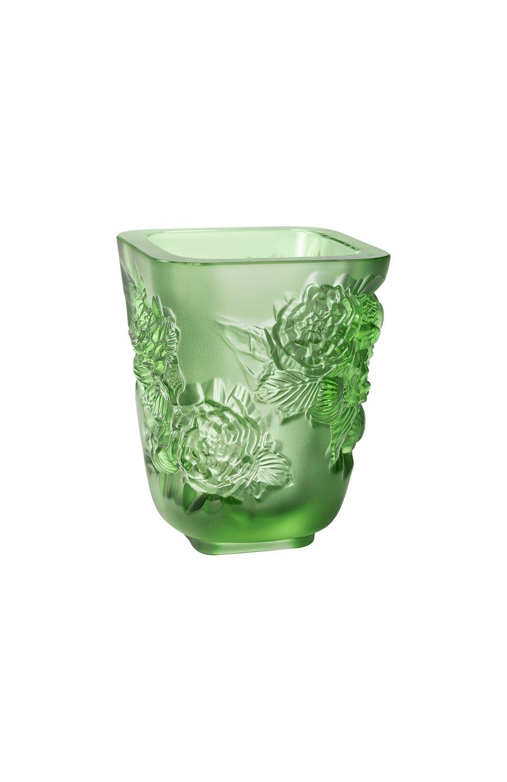 Мужская ваза pivoines small LALIQUE зеленого цвета, арт. 10708800   Фото 1