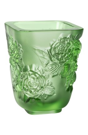 Мужского ваза pivoines small LALIQUE зеленого цвета, арт. 10708800 | Фото 1