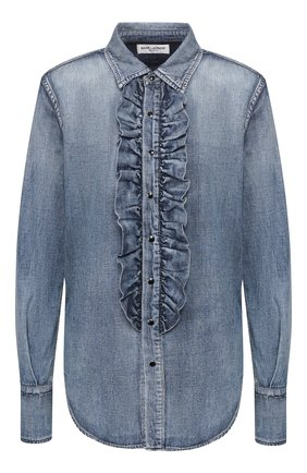 Женская джинсовая рубашка SAINT LAURENT синего цвета, арт. 623782/YW880 | Фото 1