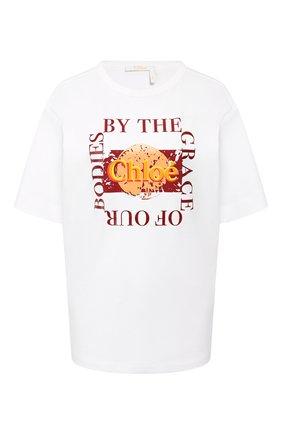 Женская хлопковая футболка CHLOÉ белого цвета, арт. CHC20UJH25288 | Фото 1