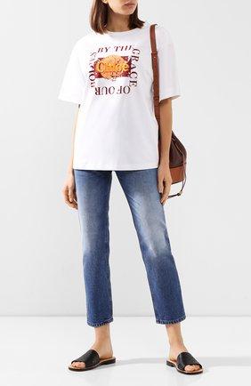 Женская хлопковая футболка CHLOÉ белого цвета, арт. CHC20UJH25288 | Фото 2
