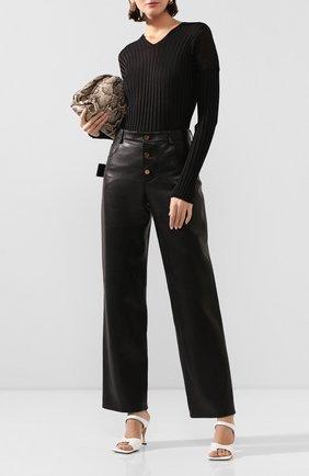 Женские кожаные брюки BOTTEGA VENETA черного цвета, арт. 618528/VKV90 | Фото 2