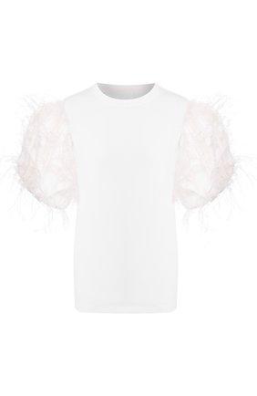 Женская футболка с отделкой перьями VALENTINO белого цвета, арт. TB0MG08E5P3 | Фото 1