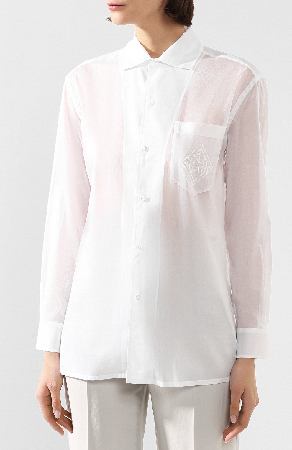 Женская хлопковая рубашка RALPH LAUREN белого цвета, арт. 290797866 | Фото 3 (Рукава: Длинные; Принт: Без принта; Женское Кросс-КТ: Рубашка-одежда; Длина (для топов): Стандартные, Удлиненные; Материал внешний: Хлопок; Стили: Кэжуэл; Статус проверки: Проверена категория)