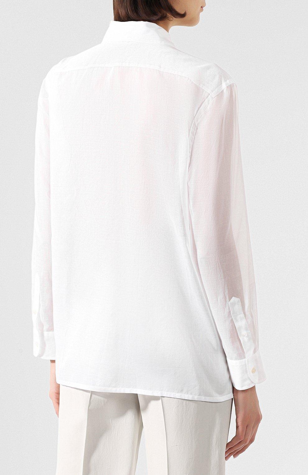 Женская хлопковая рубашка RALPH LAUREN белого цвета, арт. 290797866 | Фото 4 (Рукава: Длинные; Принт: Без принта; Женское Кросс-КТ: Рубашка-одежда; Длина (для топов): Стандартные, Удлиненные; Материал внешний: Хлопок; Стили: Кэжуэл; Статус проверки: Проверена категория)