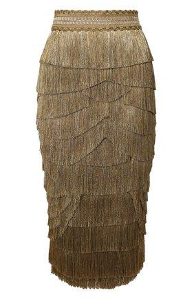 Женская шелковая юбка DOLCE & GABBANA бронзового цвета, арт. F4BUUZ/GDU61 | Фото 1