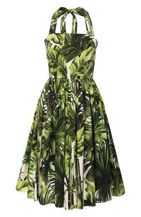 Женское хлопковое платье DOLCE & GABBANA зеленого цвета, арт. F6I2IT/HS5HD | Фото 1