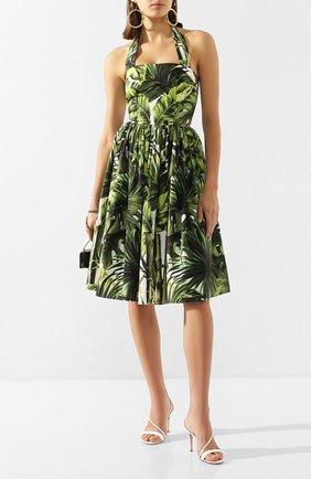 Женское хлопковое платье DOLCE & GABBANA зеленого цвета, арт. F6I2IT/HS5HD | Фото 2