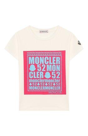 Детская хлопковая футболка MONCLER белого цвета, арт. F1-954-8C710-10-8790A/4-6A | Фото 1