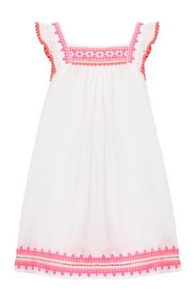 Детское хлопковое платье SUNUVA белого цвета, арт. S2373/7-14 | Фото 1