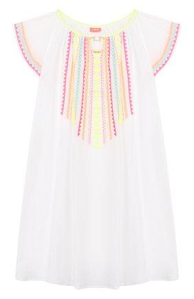 Детское хлопковая туника SUNUVA белого цвета, арт. S2370/7-14 | Фото 1