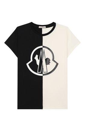 Детская хлопковая футболка MONCLER черного цвета, арт. F1-954-8C700-10-8790A/4-6A   Фото 1