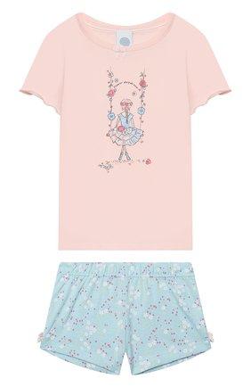 Детская хлопковая пижама SANETTA розового цвета, арт. 232406 3990 | Фото 1