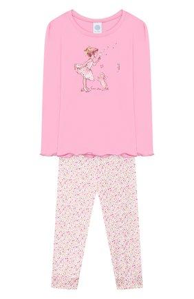 Детская хлопковая пижама SANETTA розового цвета, арт. 232420 3813 | Фото 1