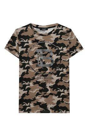 Детская хлопковая футболка BALMAIN хаки цвета, арт. 6M8581/ME440/12-16 | Фото 1